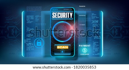 System of codes to protect your data on your smartphone. Cyber security. Access to your data by scanning your fingerprint. Reliable code for protecting files, personal data and cash accounts. Vector