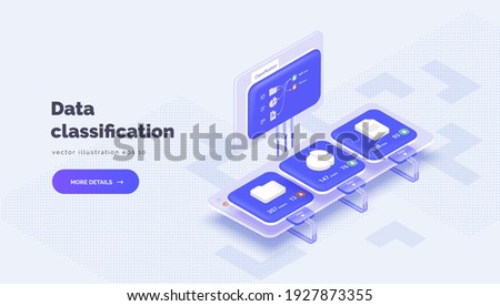 System of electronic classification of corporate data. Monitor with data about system files. Classification of files, folders, reports, graphs. Vector illustration isometric style, 3D