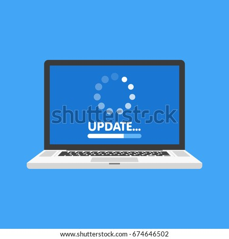 System software update and upgrade concept. Loading process in laptop screen. Vector illustration.