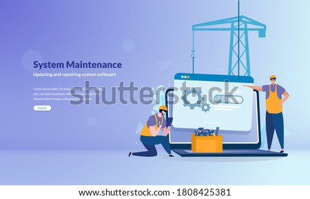 System under maintenance illustration concept, Error message about website under construction Photo stock ©