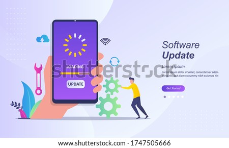 System Update Improvement Change New Version. Installing update process with people characters Suitable for web landing page, ui, mobile app, banner template. Vector Illustration Foto stock ©