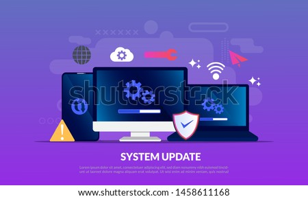 System Update Improvement Change New Version software. Installing update process, upgrade program, data network installation, flat icon,suitable for web landing page, banner, vector template Foto stock ©