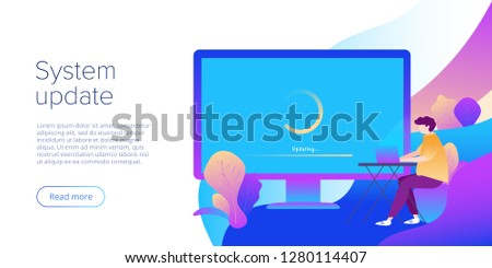System update or software installation concept in flat vector design. Creative illustration for computer upgrade or maintenance. Website landing page layout or webpage template.