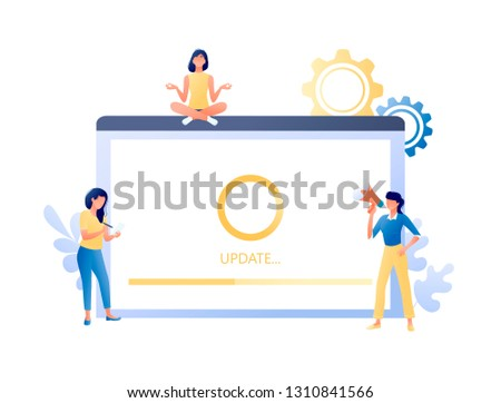 System update, software upgrade process - little people and big screen with message. Modern technology and new app version download, installation in progres. Flat concept vector illustration for web