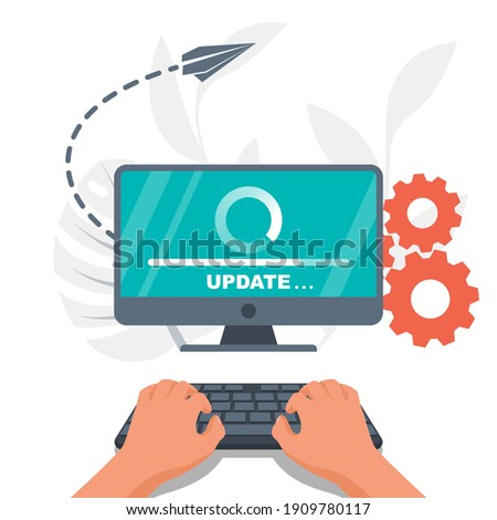 System update. The programmer behind the computer screen. Hands on the keyboard. New Version software. Installing update process. Template landing page. Data transfer. Vector illustration flat design  Foto stock ©