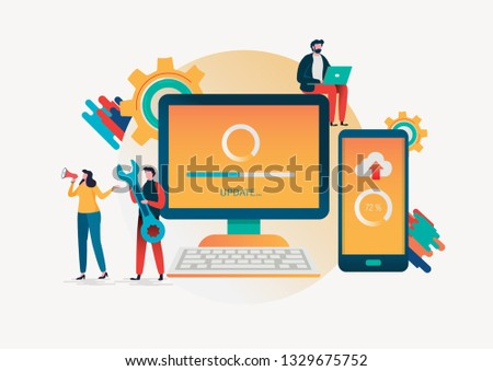 System updates with people updating operation in computing and installation programs. Flat vector illustration modern character design. For a landing page, banner, flyer, poster, web page. Foto stock ©