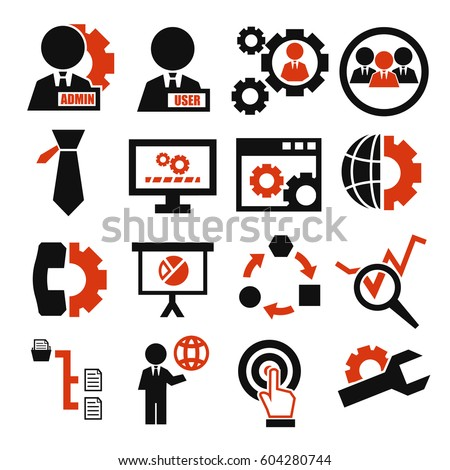 system, user, administrator icon set