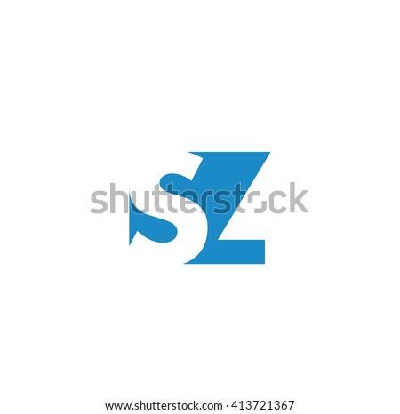 SZ Logo. Vector Graphic Branding Letter Element. White Background Stock fotó ©
