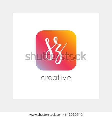 SZ logo, vector. Useful as branding, app icon, alphabet combination, clip-art. Stock fotó ©