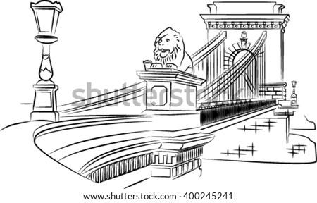 Stock Photo Szechenyi Chain Bridge