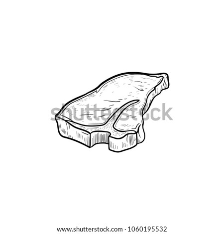 T-bone beef steak hand drawn outline doodle icon. Vector sketch illustration of t-bone beef steak for print, web, mobile and infographics isolated on white background.