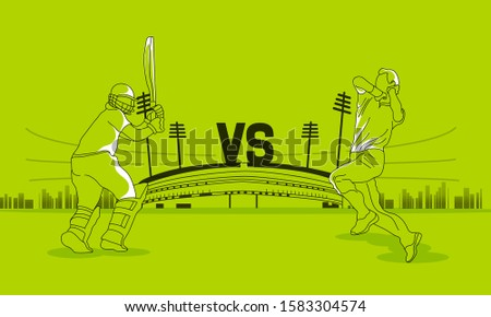 T20 Cricket header or banner design with cricket ball and wicket stumps  Cricket stadium flat line art graphic design