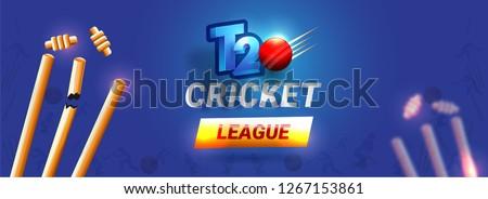 T20 Cricket League header or banner design, vector illustration of broken wicket stumps on glossy blue background.