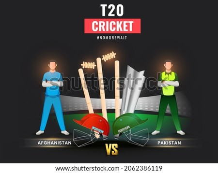T20 Cricket Match Between Afghanistan VS Pakistan With Faceless Players, Helmets And 3D Silver Trophy Cup On Black Stadium Background.