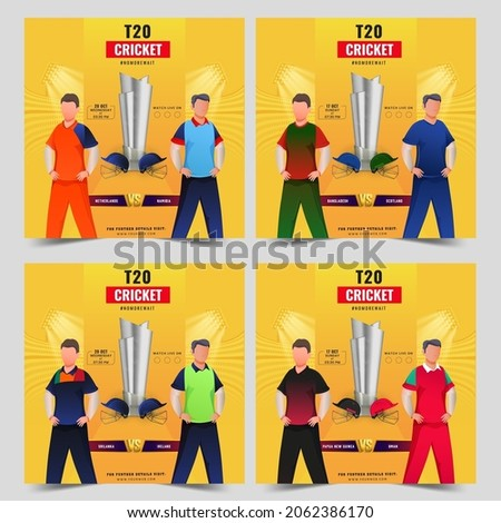 T20 Cricket Match Social Media Posts With Faceless Cricketer Players And 3D Silver Trophy Cup On Yellow Background.