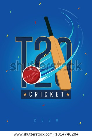 T-20 cricket Text with Cricket Bat and Ball vector illustration