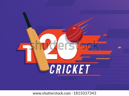 T-20 cricket Text with Cricket Bat and Ball vector illustration backround