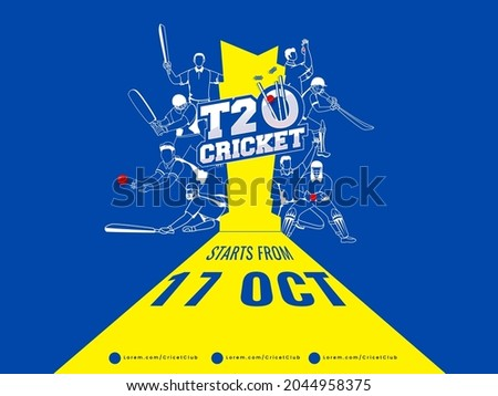 T20 Cricket Watch Live Poster Design With Different Poses Of Cricketer Players On Yellow And Blue Background.