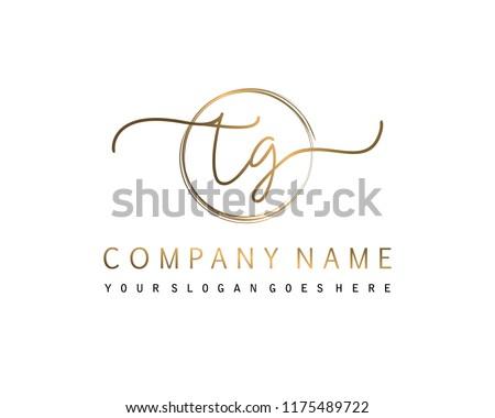 T G Initial handwriting logo vector