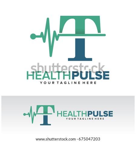 T Health Pulse Letter Logo Template Design Vector, Emblem, Design Concept, Creative Symbol, Icon