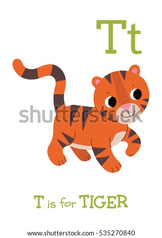 t is for tiger cute baby tiger