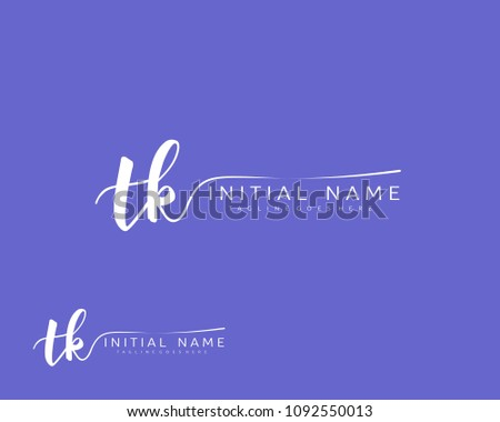 T K Initial handwriting logo vector. Hand lettering for designs. Stok fotoğraf ©