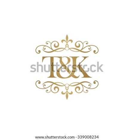 T&K Initial logo. Ornament ampersand monogram golden logo Stok fotoğraf ©