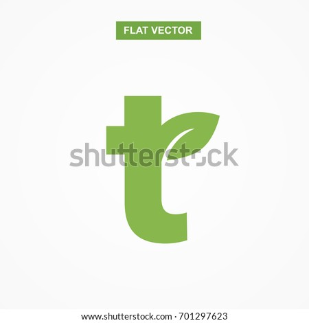 t letter font logo flat with leaf vector logo template