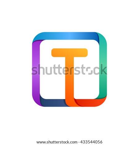 t letter logo in square
