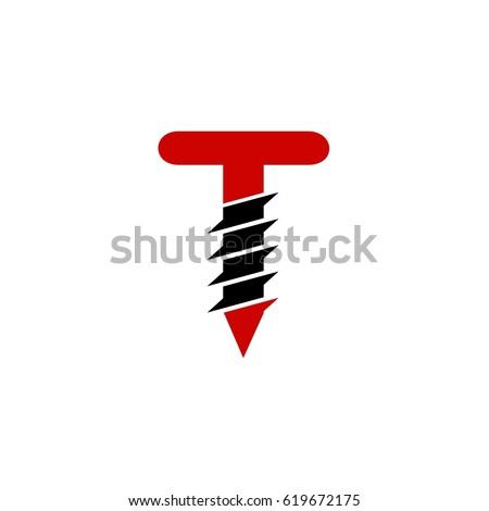 t letter vector logo. drill bit vector logo