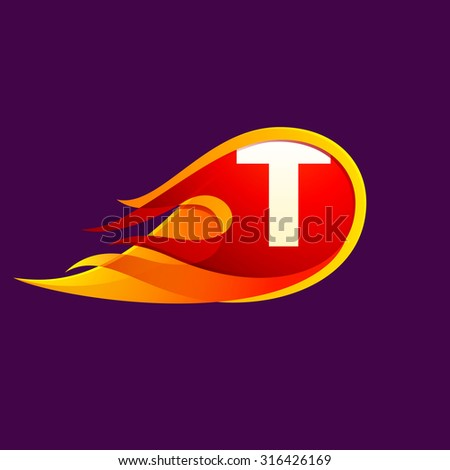 t letter with red fire flames