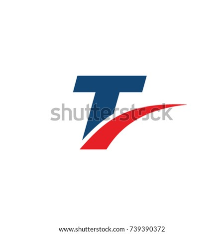 t logo, t initial overlapping swoosh letter logo blue and red