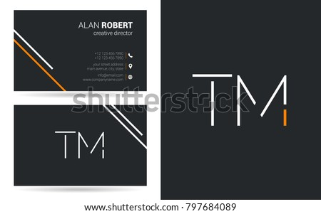 T & M joint logo stroke letter design with business card template Stock fotó ©