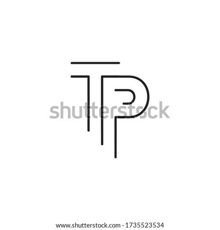 T P lines letter logo design vector Stock fotó ©