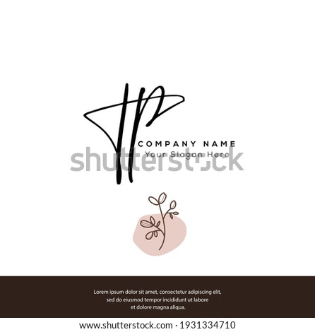 T P TP Initial letter handwriting and signature logo. Beauty vector initial logo .Fashion, boutique, floral and botanical Stock fotó ©