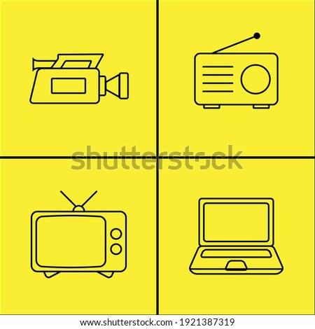 Tüplü televizyon, eski tarz radyo, video kamera ve dizüstü bilgisayar çizimi. Renkli arka plan üzerinde siyah. Vektör Stok fotoğraf ©
