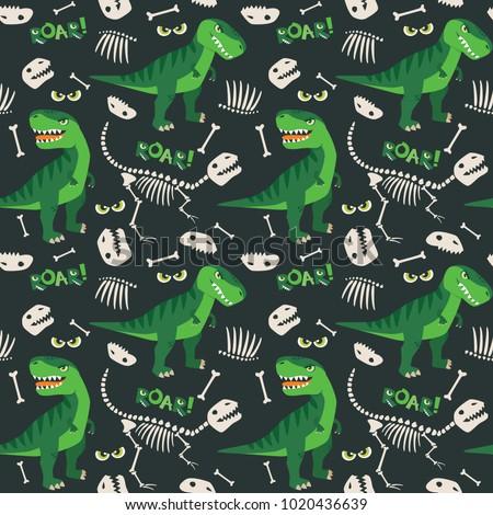 T Rex and Dino Bones Roar Seamless Pattern Dark Background Vector Illustration