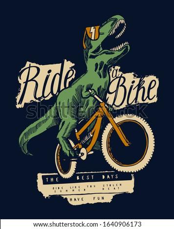 t rex dinosaur riding bicycle
