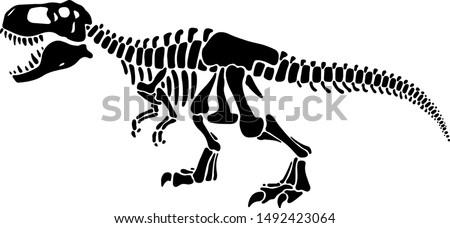 T rex dinosaur skeleton negative space silhouette illustration. Prehistoric creature bones isolated monochrome clipart. Dangerous ancient predator, tyrannosaurus fossil design element