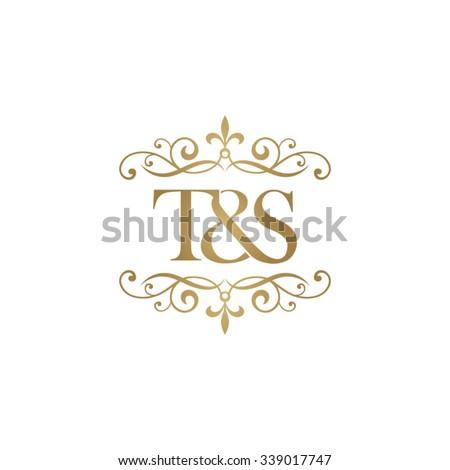 T&S Initial logo. Ornament ampersand monogram golden logo Stock fotó ©