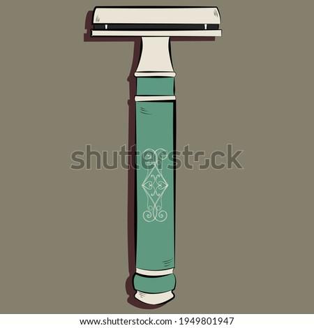 t shaped razor hand drawing