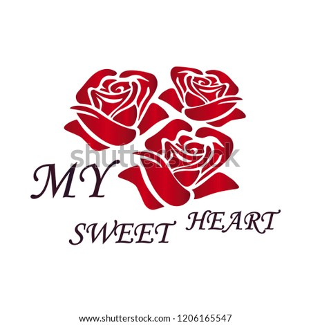 t shirt design- beautiful red rose typing MY SWEET HEART