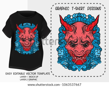T shirt design Japanese style.kabuki demon mark with water wave background.Mock up black T shirt and Graphic printing.vector.illustration