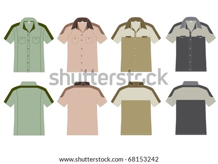 shirt outline front and back. Vector template. front and