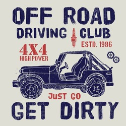 T-shirt design, offroad driving club with suv car typography graphics, vector illustration .