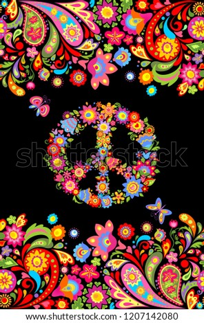 T shirt design on black background with colorful floral seamless border and hippie peace flowers symbol