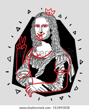 T-Shirt Design & Printing, clothes, bags, posters, invitations, cards, leaflets etc. Vector illustration hand drawn. Mona Lisa - Gioconda by Leonardo da Vinci