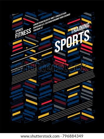 t-shirt design sports training fitness wear on black background