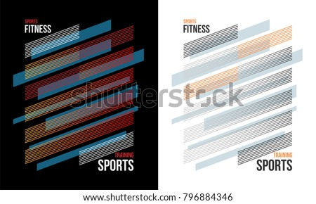 t-shirt design sports training fitness wear on white and black background