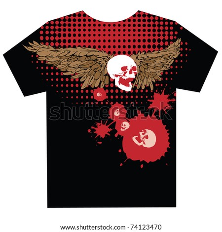 t-shirt design with eagle wings and skull over halftone texture